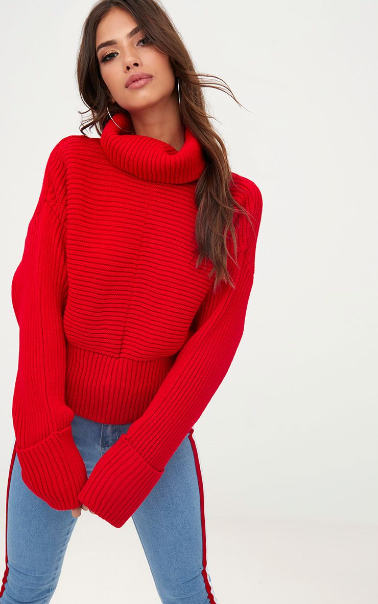 Red Extreme Sleeve Roll Neck Jumper