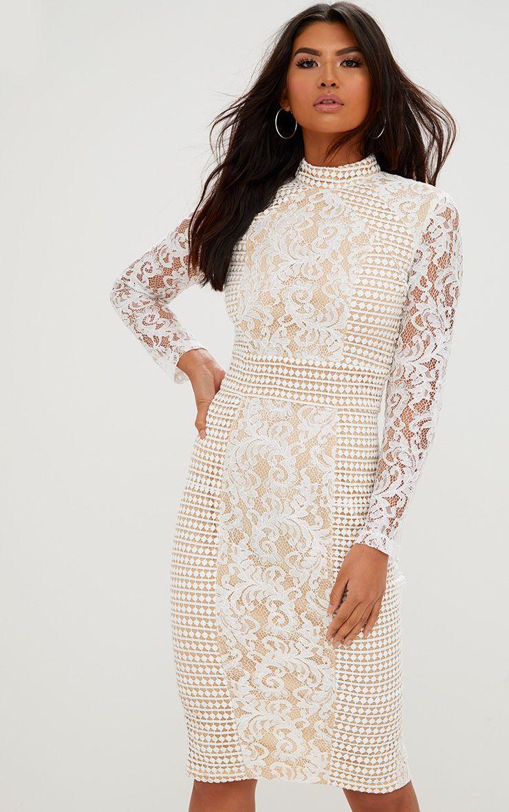 White Lace High Neck Midi Dress