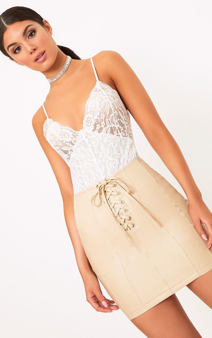 Seanna Stone Faux Leather Lace Up Mini Skirt