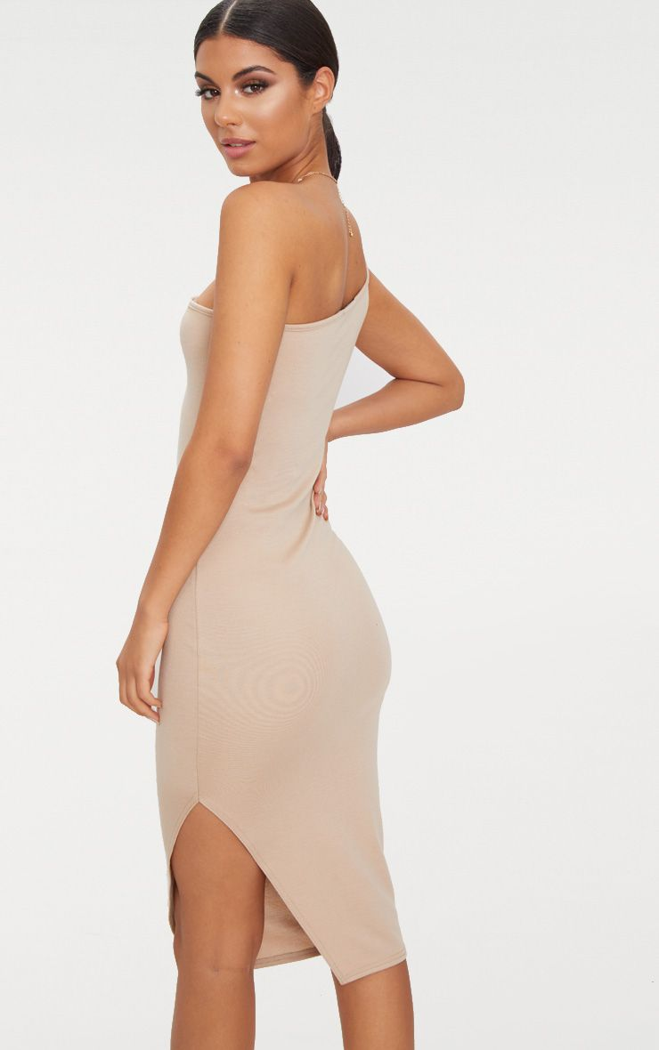 Sale 2018 New Taupe One Shoulder Midi Dress Pretty Little Thing Many Kinds Of Cheap Online 2epcQ8N