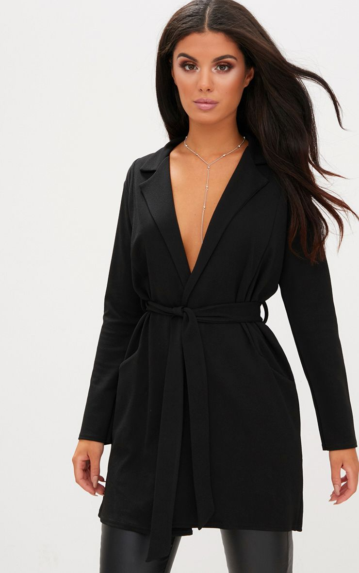 Black Longline Belted Blazer
