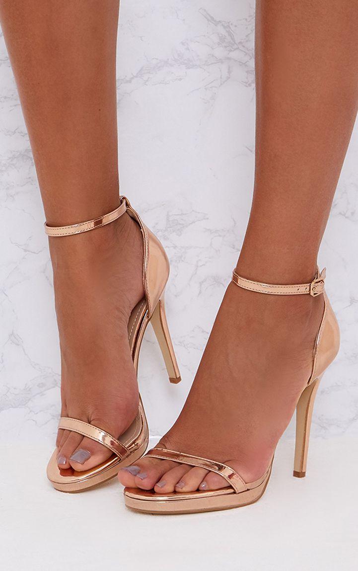 Rose Gold Single Strap Heeled Sandals
