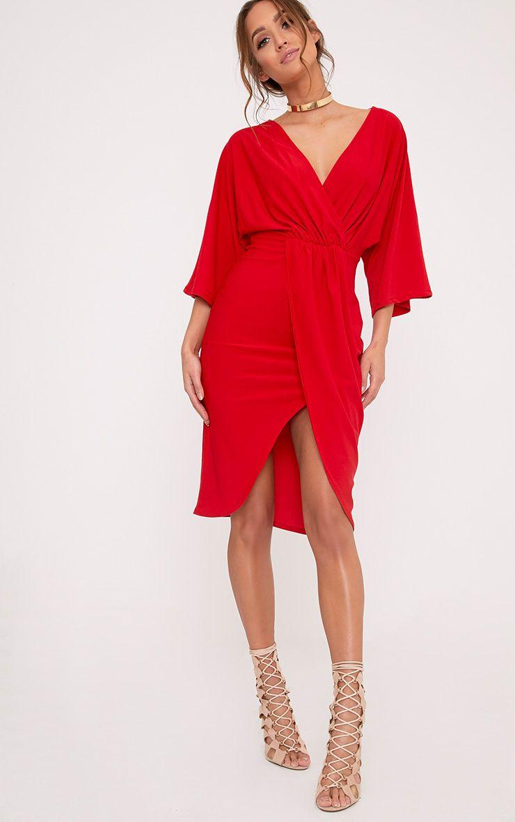 Archer Red Cape Midi Dress