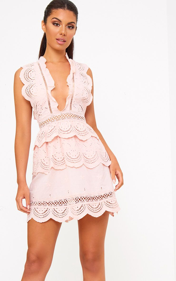 Dusty Pink Crochet Lace Plunge Swing Dress
