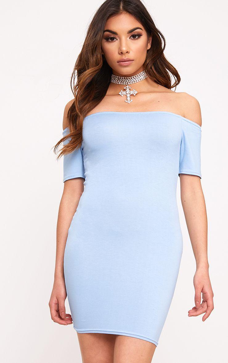 Dusty Blue Basic Short Sleeve Bardot Bodycon Dress