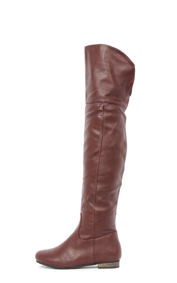 Product photo of Jadie burgundy leather over the knee boots red