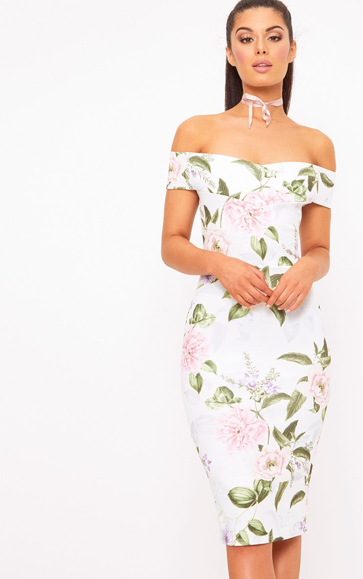 White Floral Bardot Midi Dress