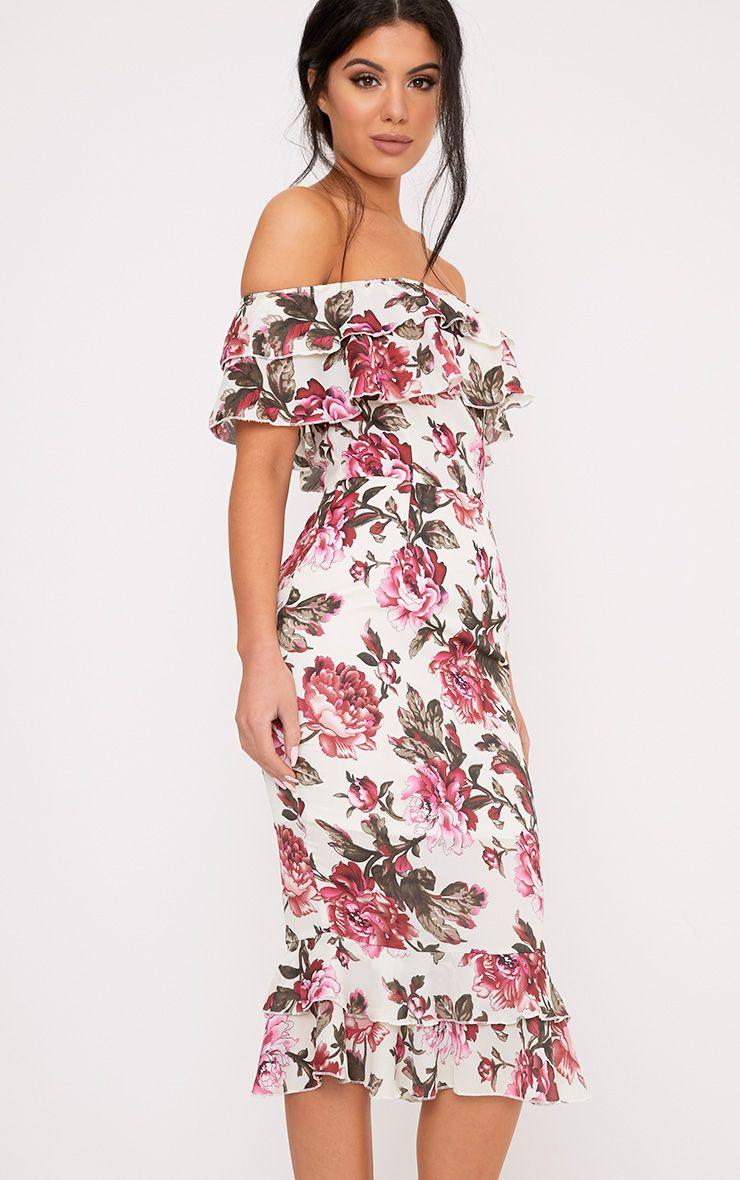 Karolina Pink Chiffon Floral Frill Bardot Midi Dress