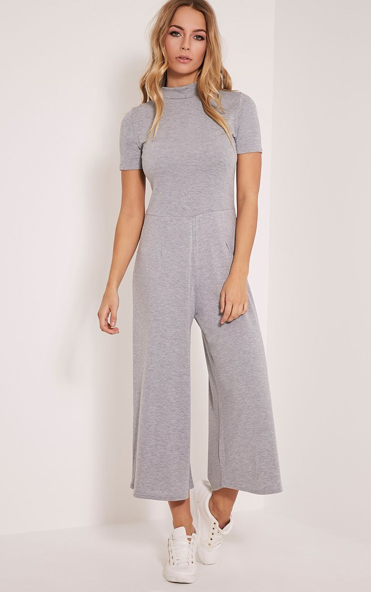 Kacee Grey High Neck Jersey Culotte Jumpsuit 1