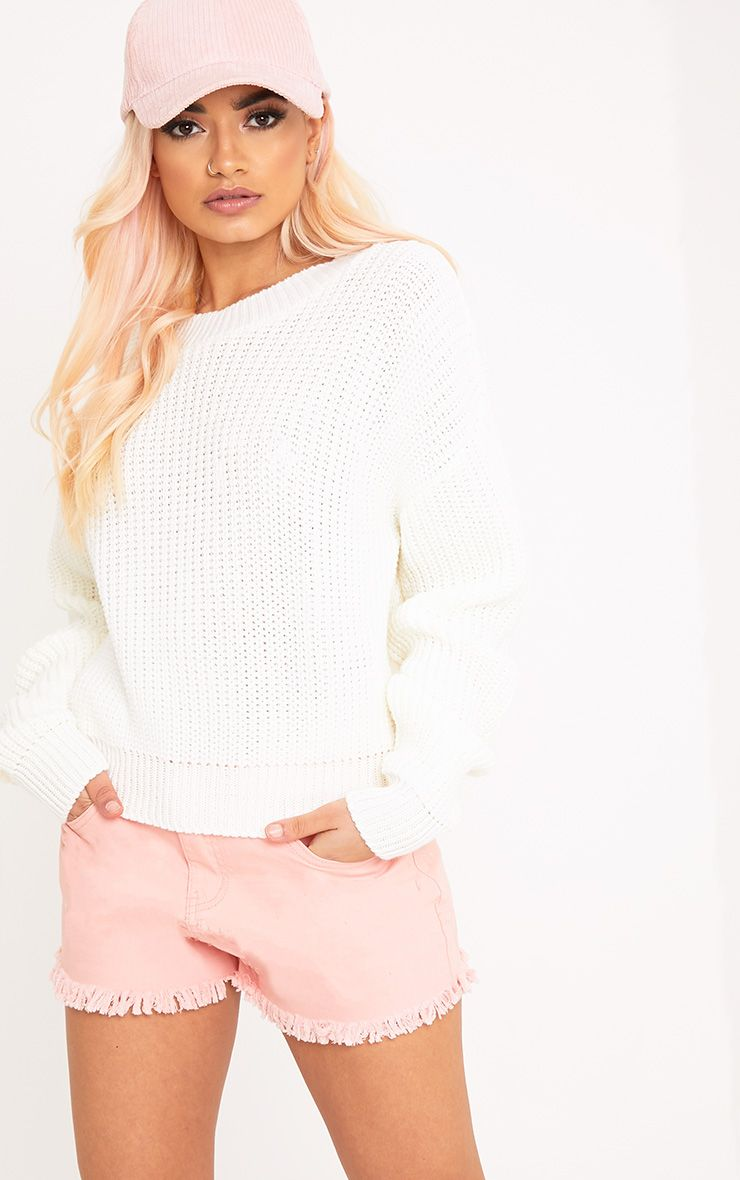 Cara Cream Cropped Knit Jumper