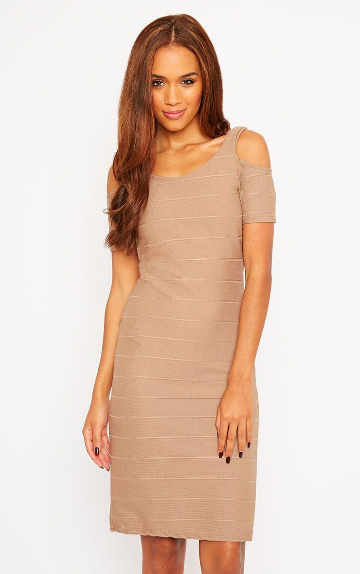 Bea Mocha Cold Shoulder Bandage Dress 1