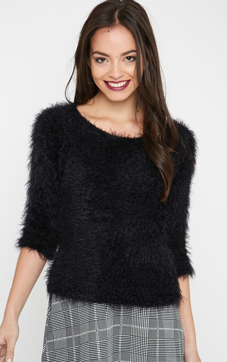 Kierra Black Fluffy Jumper 1