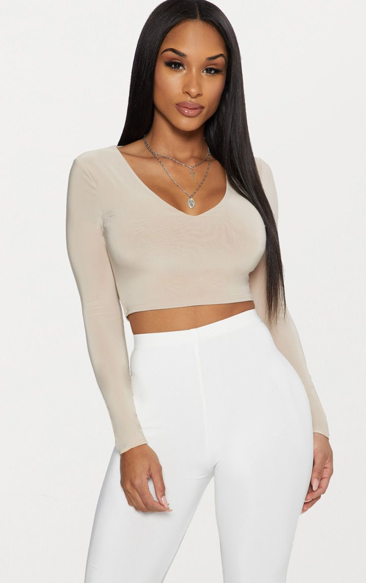 PRETTYLITTLETHING Second Skin Long Sleeve V Neck Crop Top Best Deals Discount Clearance Store Pre Order Online zwDaWKq