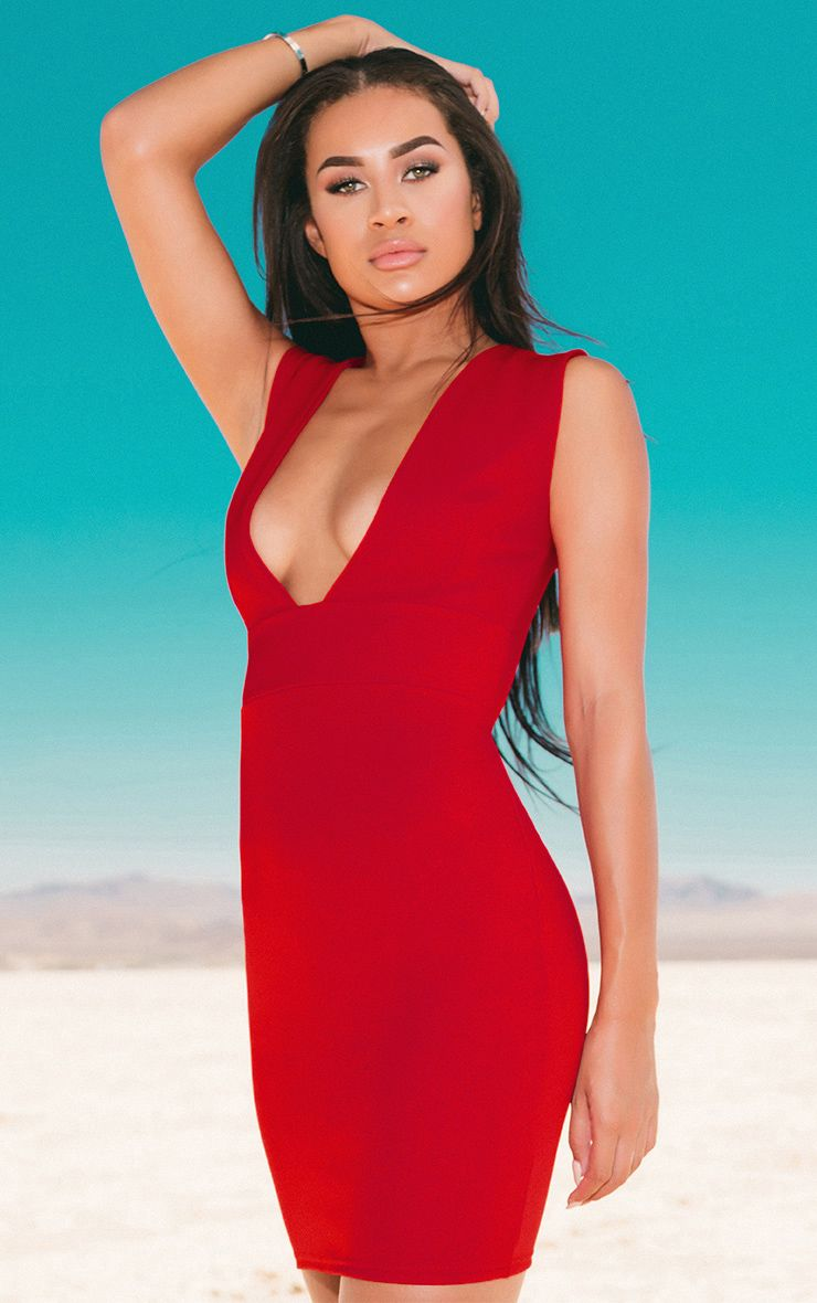 Red Extreme Plunge Sleeveless Bodycon Dress