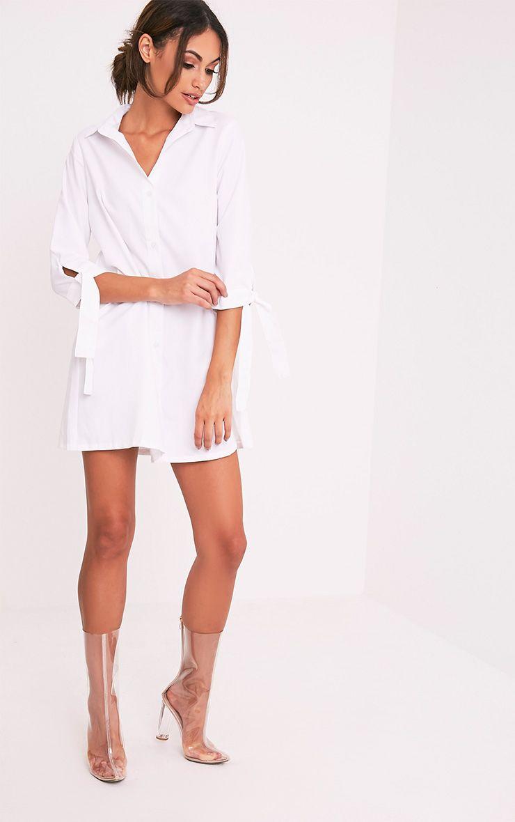 Maysia White  Cuff Detail Shirt Dress 5
