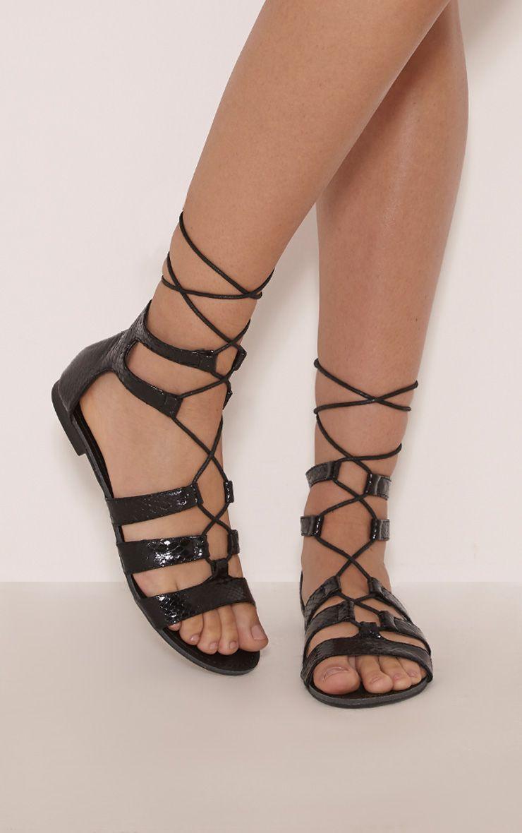 Bethan Black PU Snakeprint Gladiator Sandals 1