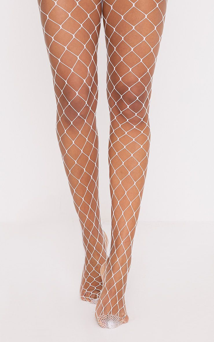 Inari White Large Fishnet Tights