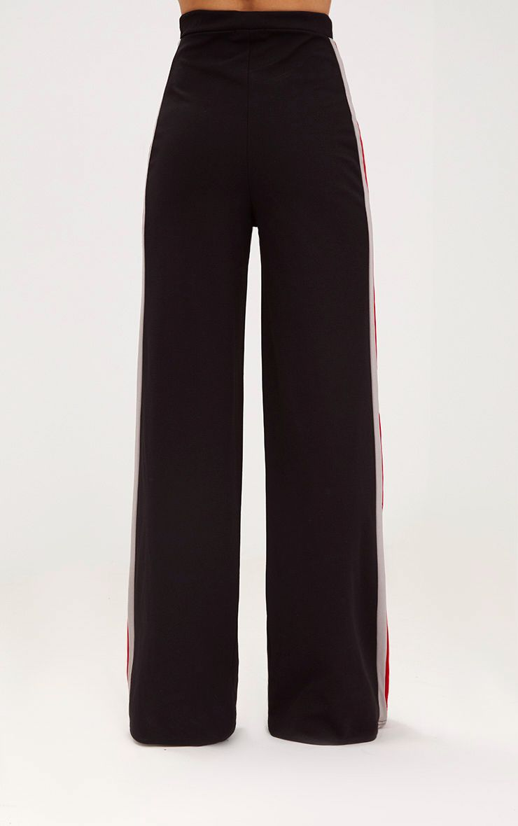 Black Sport Side Stripe Wide Leg Trousers 4