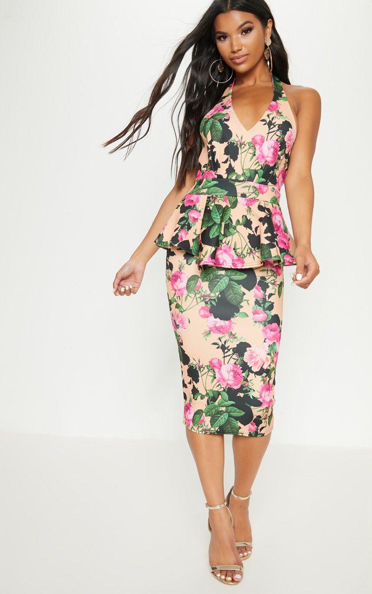 Peach Floral Peplum Detail Midi Dress
