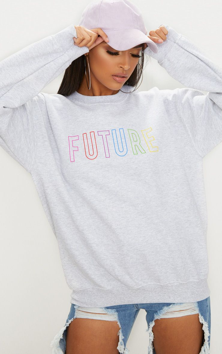 Ash Grey Future Slogan Sweater
