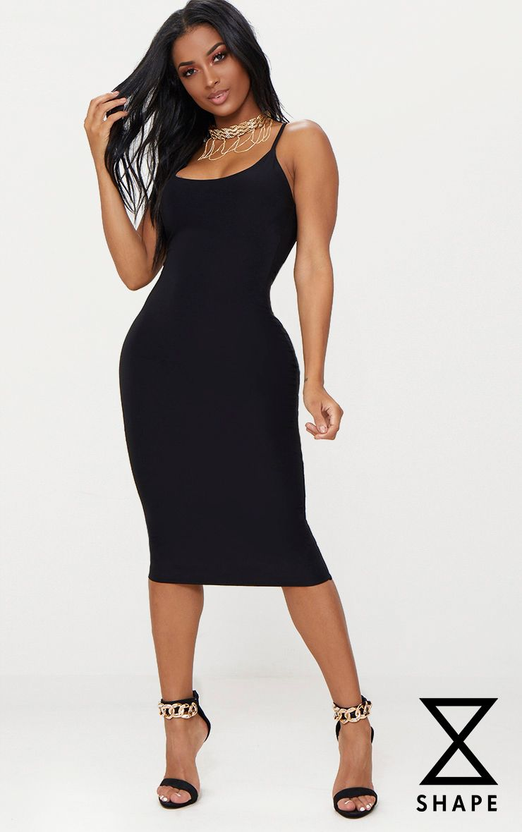 Shape Black Slinky Strappy Scoop Neck Midi Dress