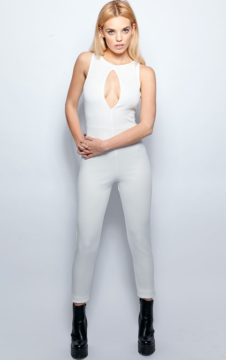 Stephanie White Cut Out Jumpsuit 1
