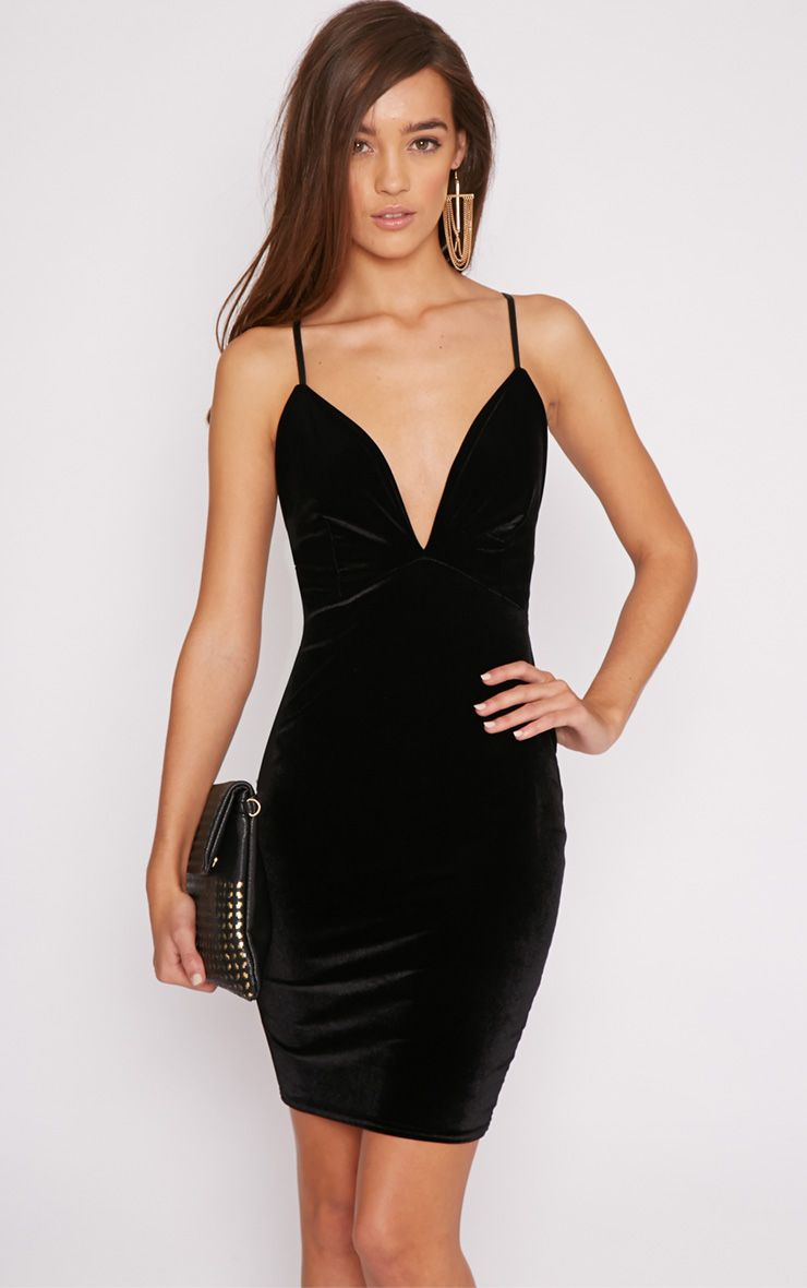 Zina Black Velvet Mini Dress 1