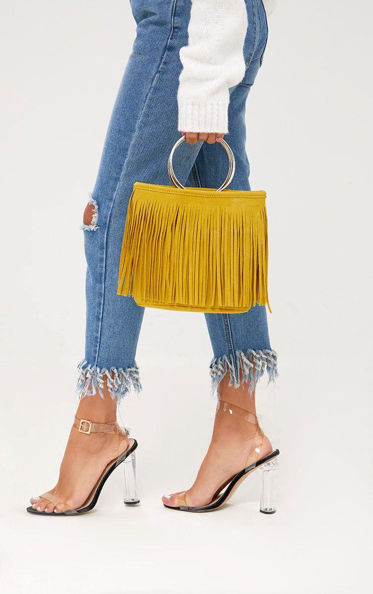 Yellow Fringed Hoop Handle Bag