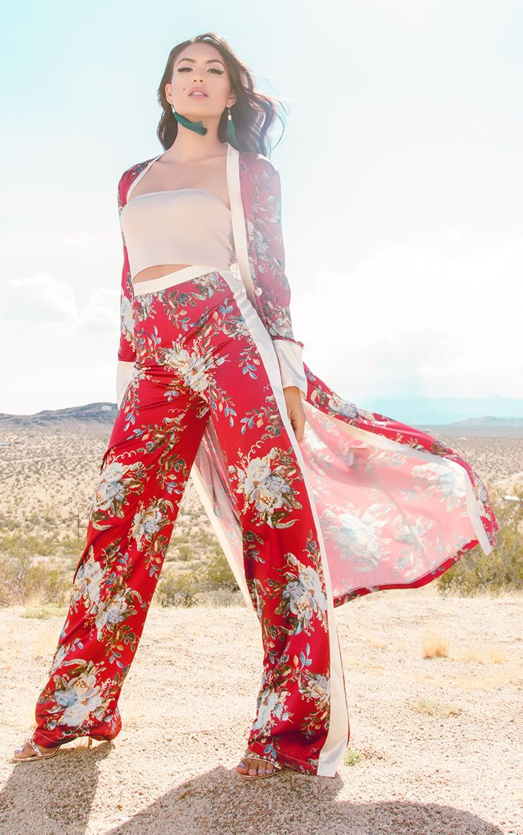 Red Floral Satin Wide Leg Trousers