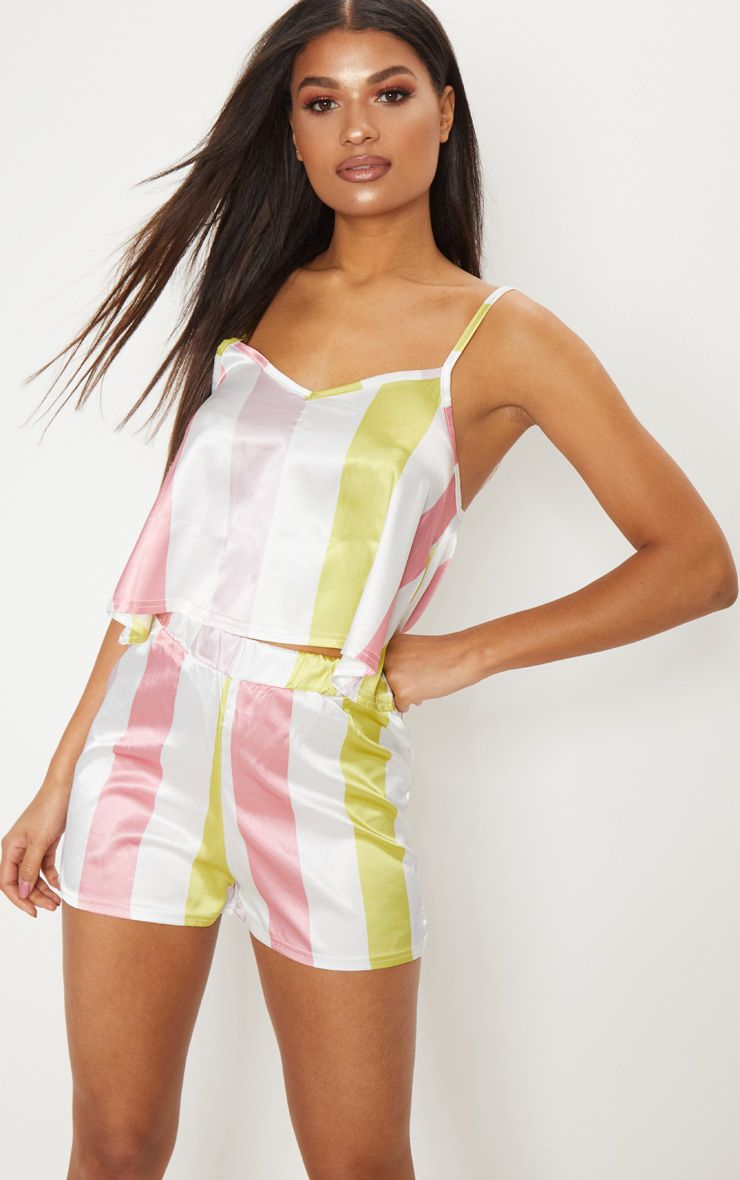 White Candy Stripe Satin Strappy PJ Set