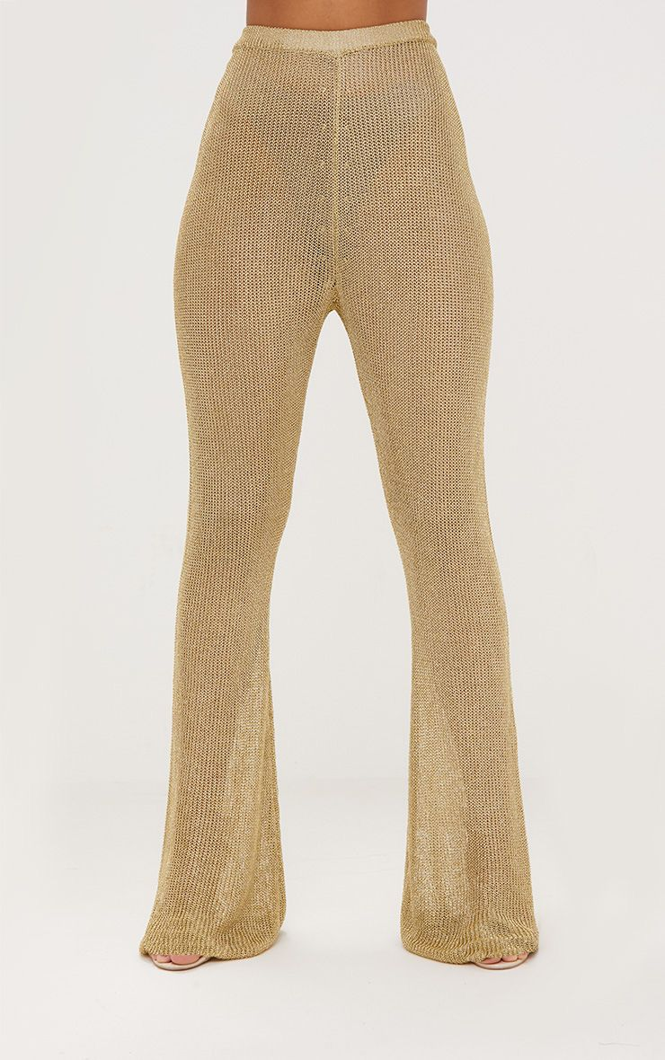 Gold Metallic Knit Flared Trousers. Knitwear ...