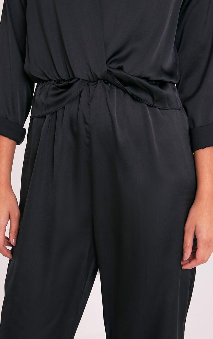 Valerie Black Long Sleeve Wide Leg Plunge Jumpsuit 6