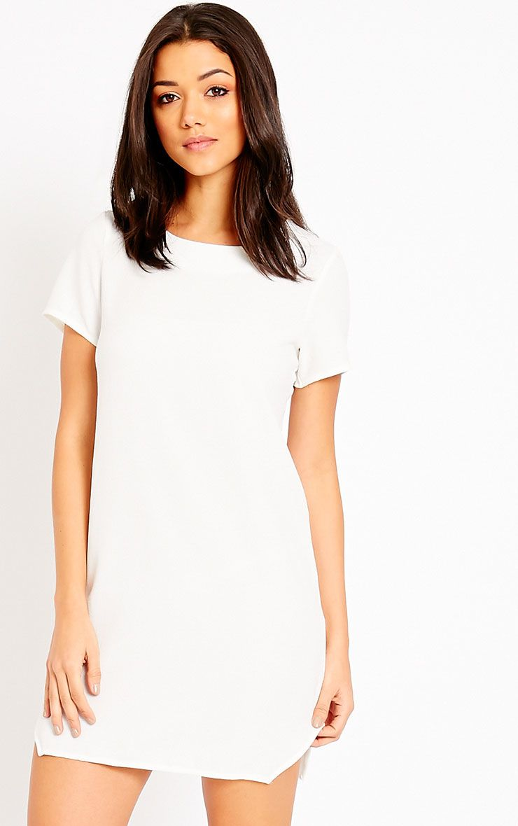 Jeni Ivory Crew Neck Shift Dress 1