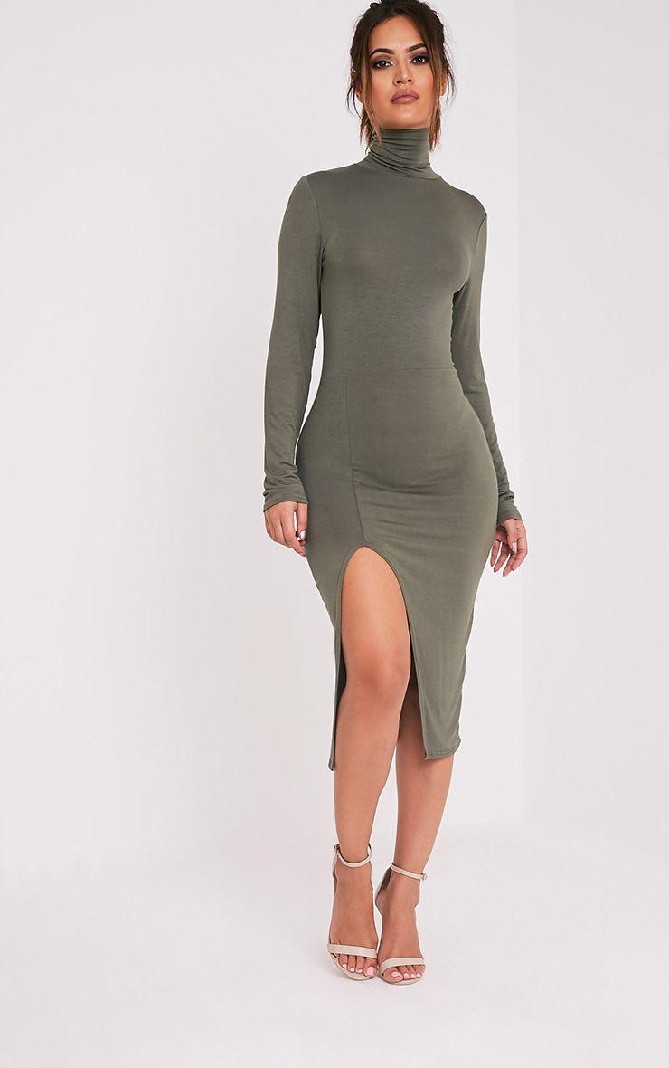 Fazena Khaki High Neck Side Split Midi Dress 1