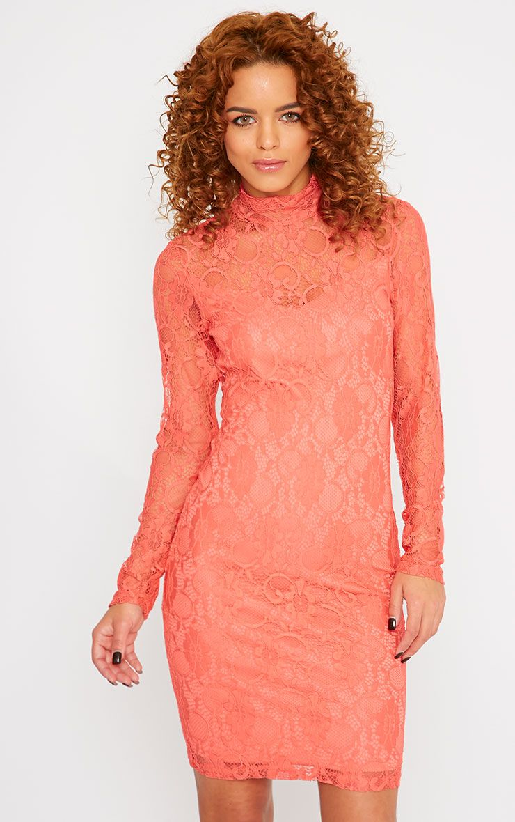 Esty Coral Lace High Neck Mini Dress  1