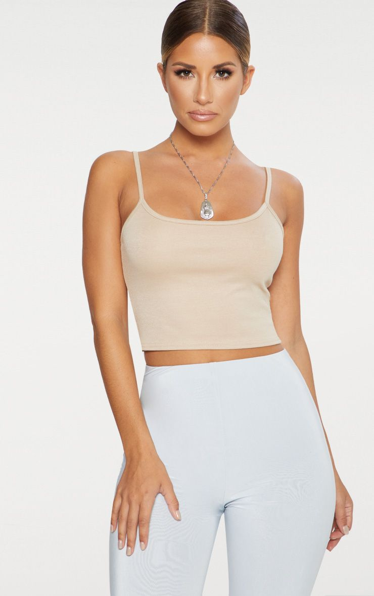 Stone Ponte Strappy Crop Top Pretty Little Thing Collections For Sale Outlet Affordable KyNqr