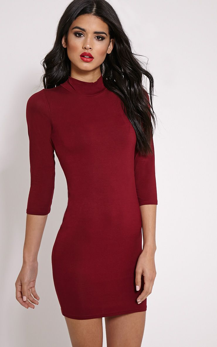 Basic Burgundy High Neck Jersey Mini Dress