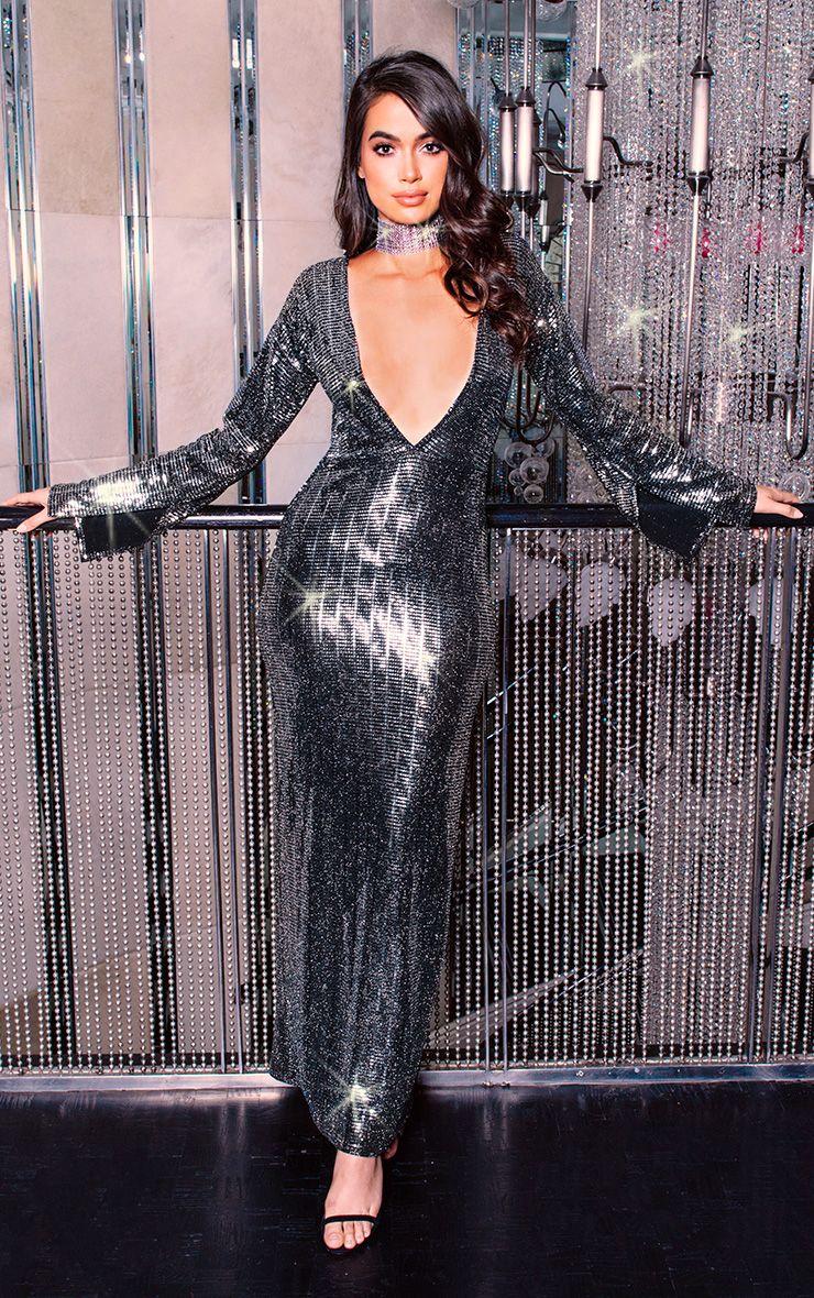 Black Long Split Sleeve Plunge Sequin Maxi Dress  1