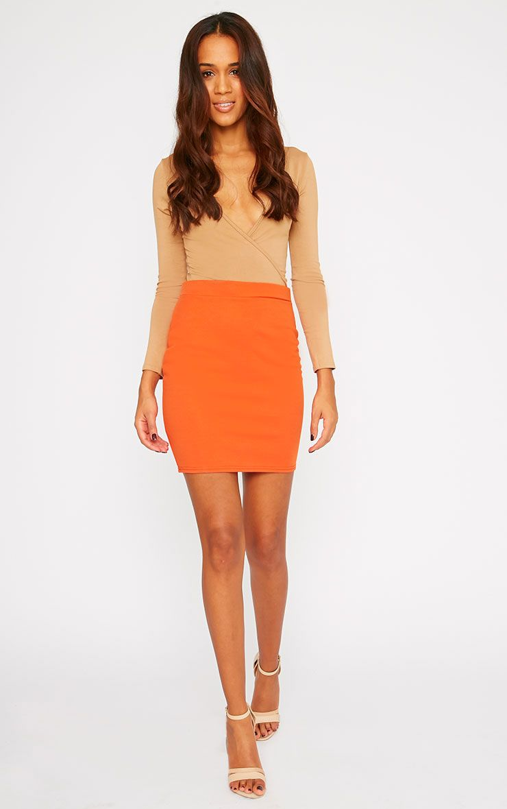 Grace Orange Mini Skirt  1