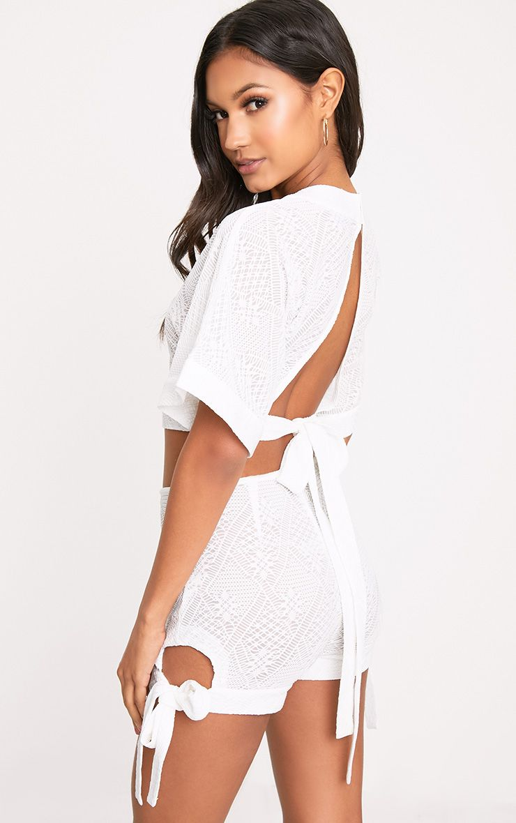White Tie Open Back Crop Top