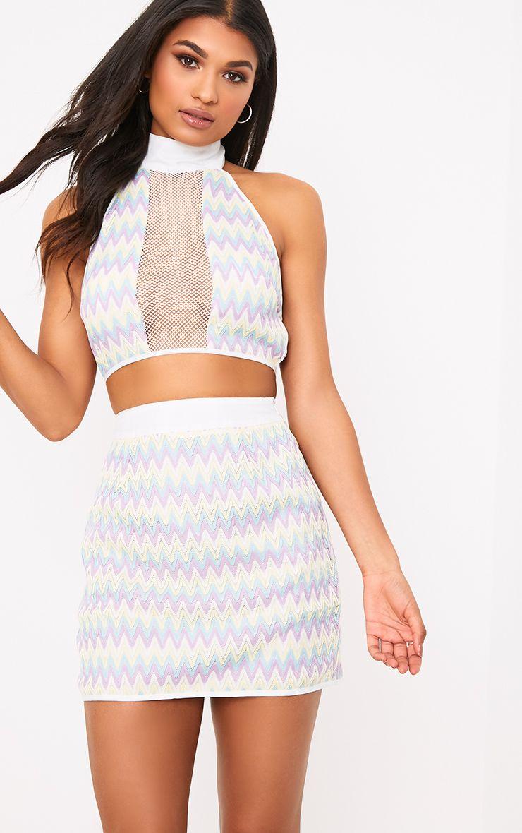 Amette Lilac Chevron Mini Skirt