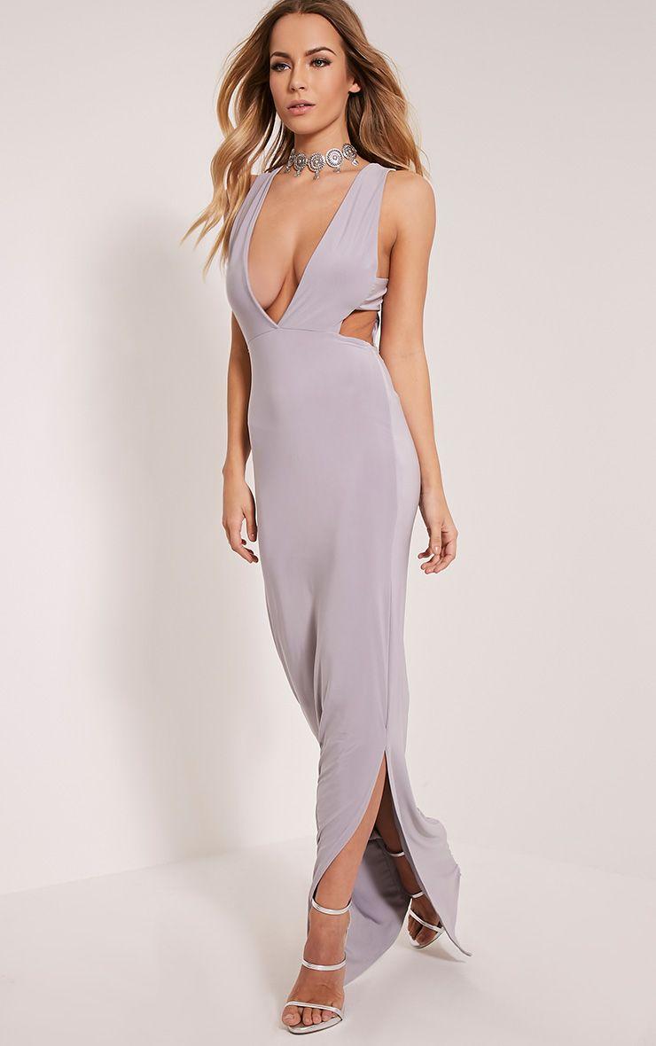 Mayah Grey Deep Plunge Tab Side Maxi Dress 1
