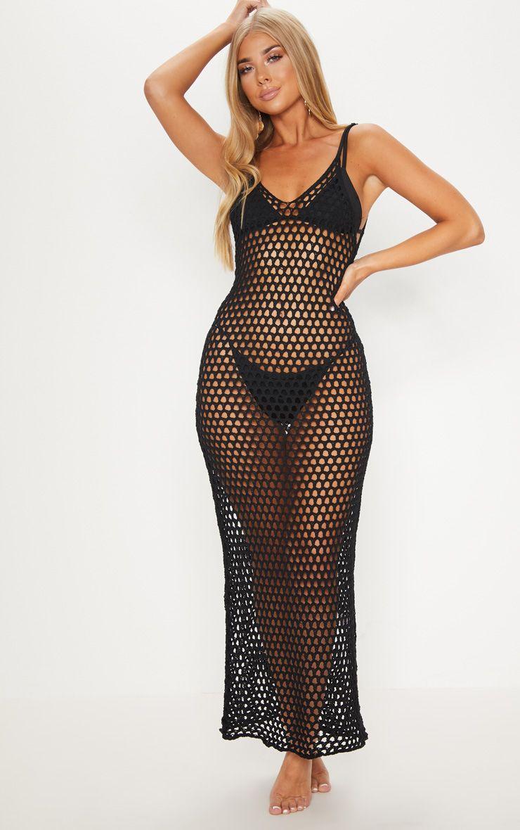 Black Crochet Open Knit Midi Dress