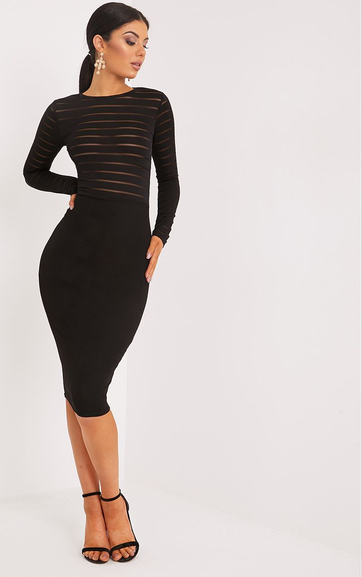 Haley Black Burn Out Mesh Midi Dress