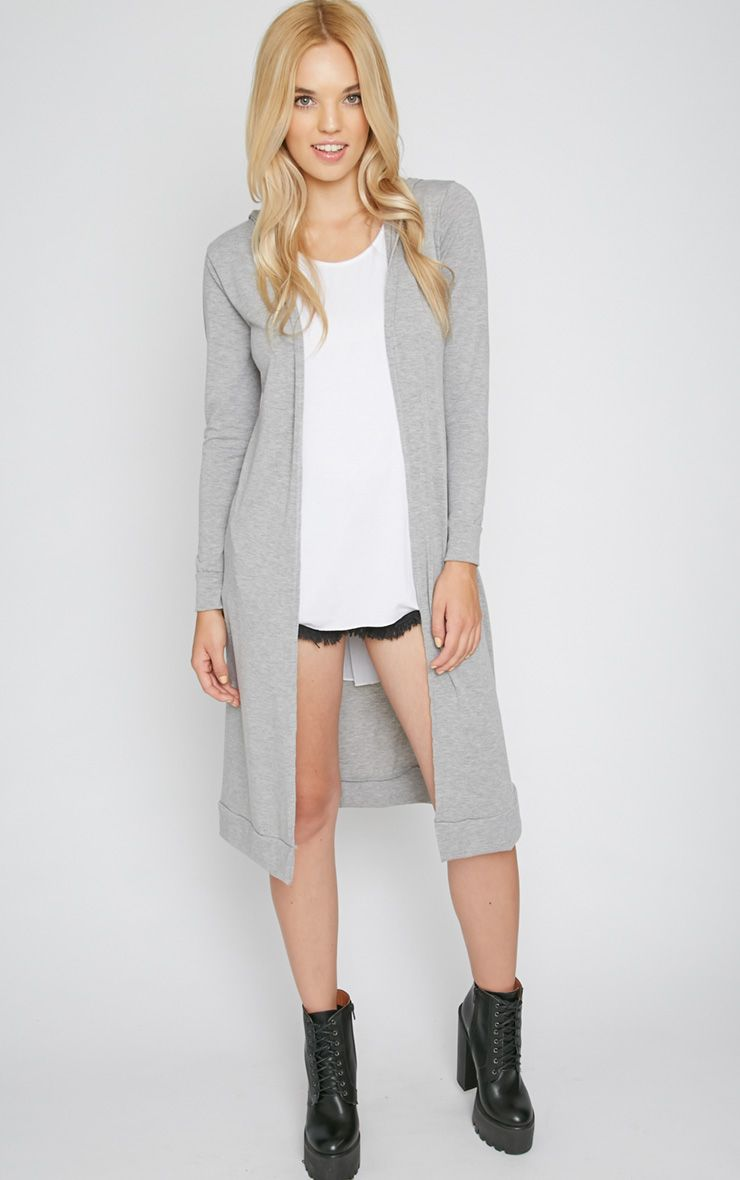 Juno Grey Hooded Jersey Cardigan  1