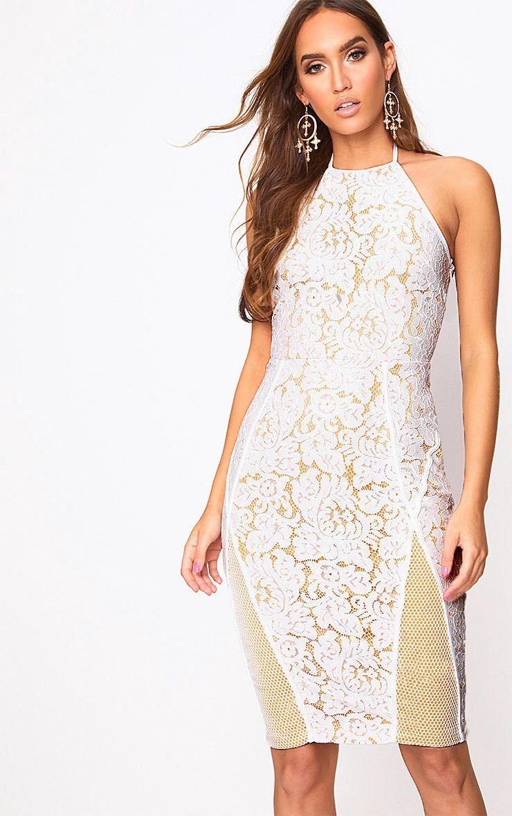 White Lace Fishnet Panel Halterneck Midi Dress