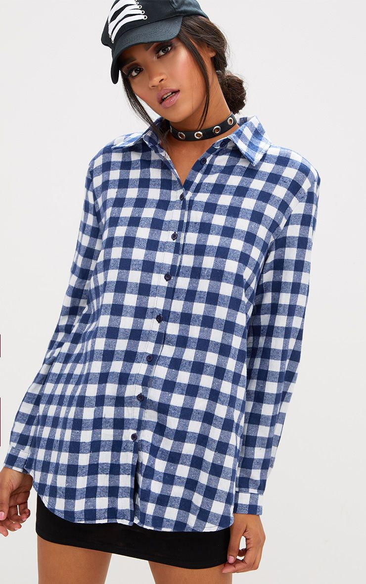 Blue Oversized Checked Flannel Shirt