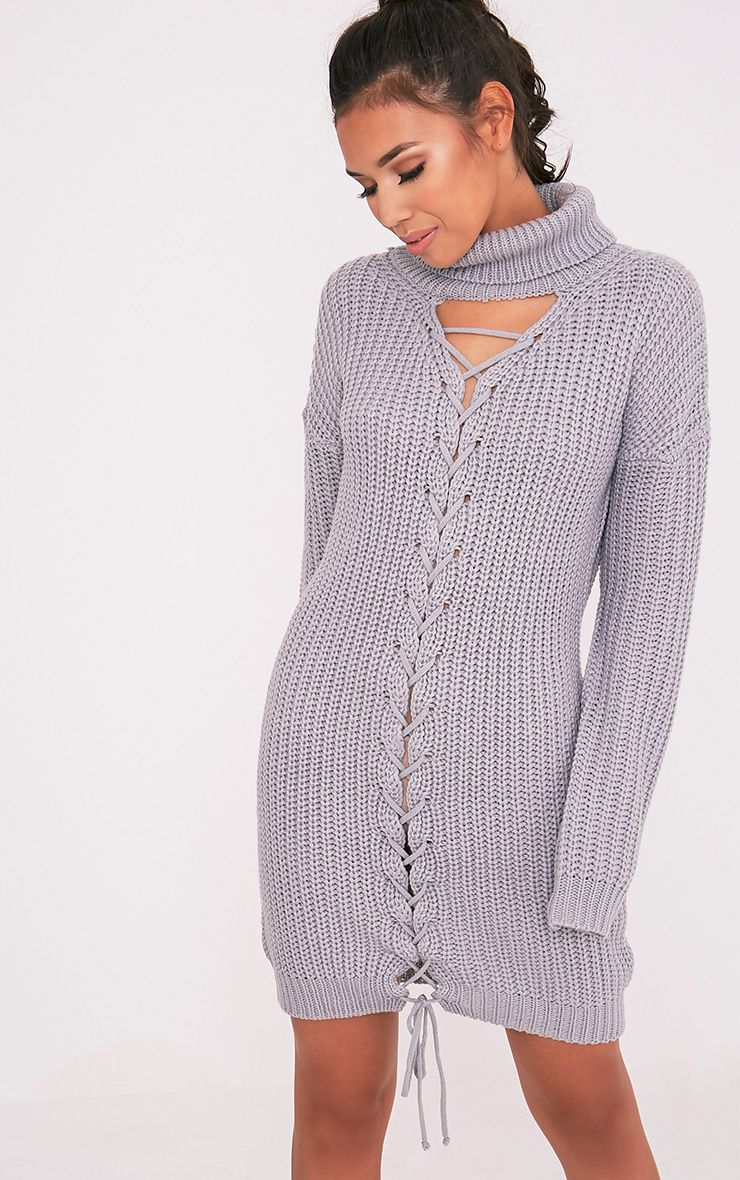 Josalinda Grey Knitted Front Tie detail Roll Neck Dress