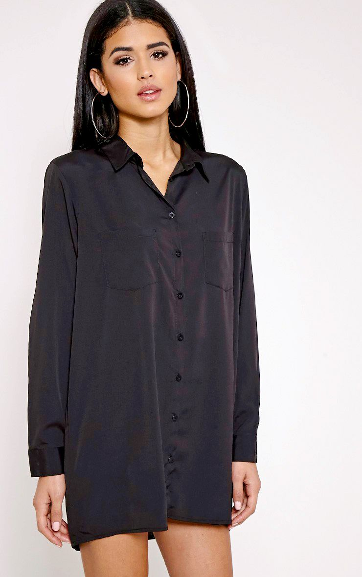 Effy Black Crepe Shirt Dress