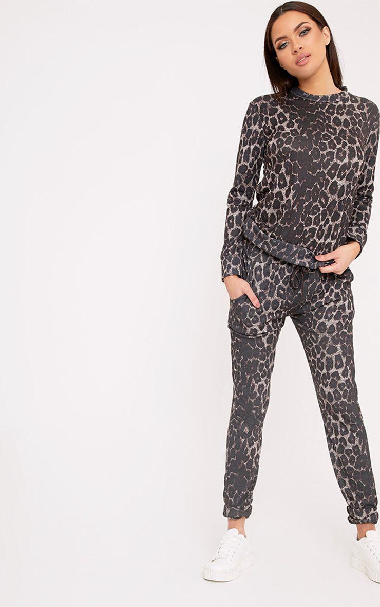 Sofiee Black Leopard Print Joggers
